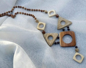 Wooden Necklace, Wood Jewelry, Geometric Necklace Multicolor Wooden Jewelry