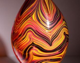 Hand Blown Glass Teardrop Vase with Dark Hot Color Swirls