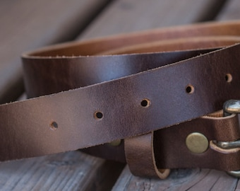 Brown Leather Belt | Made in the USA | Trekker Leather Co
