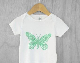 Butterfly Baby T-shirt, 'Álainn' Irish word for Beautiful, green Earth Positive organic cotton handmade