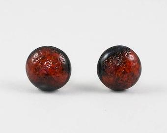 Black Red Stud Earrings | Ceramic Earrings | Handmade Pottery Round Earrings
