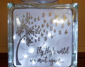 Fly High Until We Meet Again Memorial Lighted Glass Block, In Memory of Gift, Sympathy Gift, Memorial Gift, Grief and Loss of Loved One