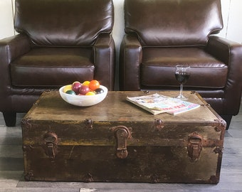 """1930s-1940s  Steamer Trunk, Travel Trunk, Footlocker, Coffee Table Trunk with Original Tray """"Wonderful Distressed Patina"""""""