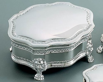Silver Tone Finish Monogrammed Keepsake Victorian Style Jewelry Box