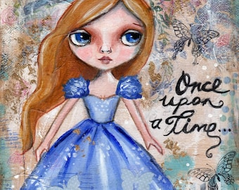 Cinderella painting, Fairy Tale,  Mixed Media Painting , Childrens Art, Nursery Decor, Original painting, Whimsical Girl, tuxedo cat
