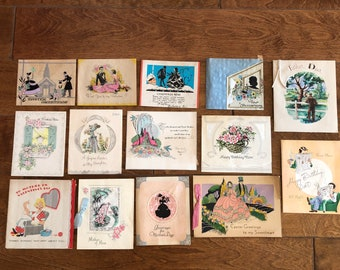 LOT of VINTAGE cards 1940's through 1950's  mixed lot 14 pieces