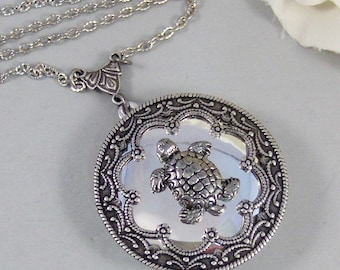 Sea Turtle ,Locket,Silver, Turtle ,Antiqued,Charm,Silver Locket,Woodland,Pond.Jewelery by Valleygirldesigns.