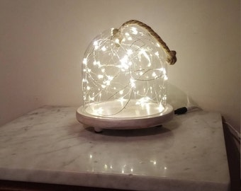 Glass Dome with Wood Base and String Lights/Cloche/Coastal