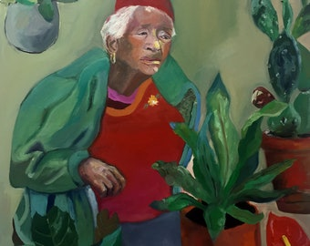 green painting of woman with plants