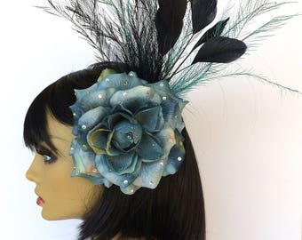 Teal Feather Fascinator, Blue Hair Flower, Black Fascinator, Great Gatsby, Blue Party Hat, Large Hair Flower