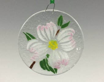 Dogwood, Flowering Dogwood, Fused Glass, Ornament, Dogwood Ornament, Virginia State Flower, North Carolina State Flower