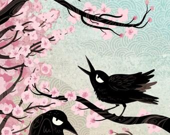 Spring Crows 5x7 mini art print