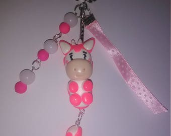 Keyring a lovely cow pink polymer