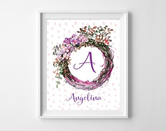 Custom Nursery Monogram Print, Baby Girl Nursery, Personalized Baby Name Sign, Nursery Printable, Baby Girl Gift, New Baby Gift, Baby Shower