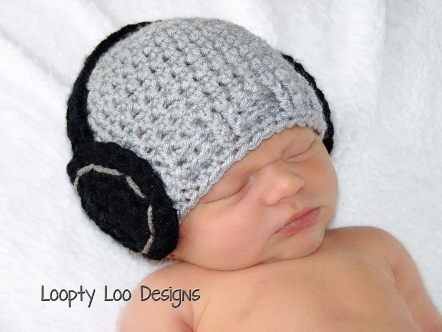 Newborn Photo Prop Headphone Hat Crochet Hat Baby Boy Baby