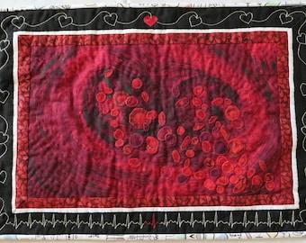 Life Force, Fiber Art Handmade Art Quilt, Red Blood Cells