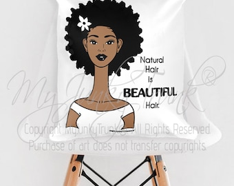Beautiful 18x18 THROW PILLOW- African American Natural Hair Art Black Woman Art