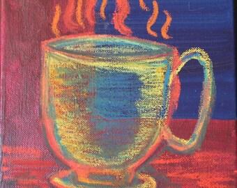COFFEE - Original Painting 8 x 8
