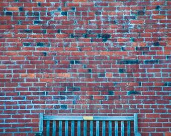 Art of Leisure - urban street scene - modern, minimalist - Fine art photography - solitude - color, black and white - brick, bench, texture