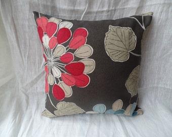 "Modren 16"" brown, red, blue flowered cushion cover, pillow, pillow case, scatter cushion."