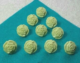 10 x rose buttons yellow, green, light blue