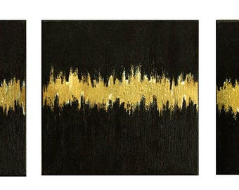 """Modern Art, Acrylic Painting, Abstract Painting, Wall Art, Set Paintings  """"Golden rhythm with leaf gold"""" 36x12x 0,75 by M.Schöneberg"""
