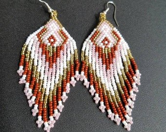 Gift for her, Bohemian earrings, huichol earrings,  native American earrings, beaded earrings, boho earrings, fringe earrings, tassel