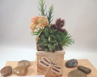 """Colorful Artificial Succulent Garden Potted Arrangement from """"Succulent Perrydise"""" - 3-1/2"""" Square x  9-3/4"""" Tall - 5 Plants"""