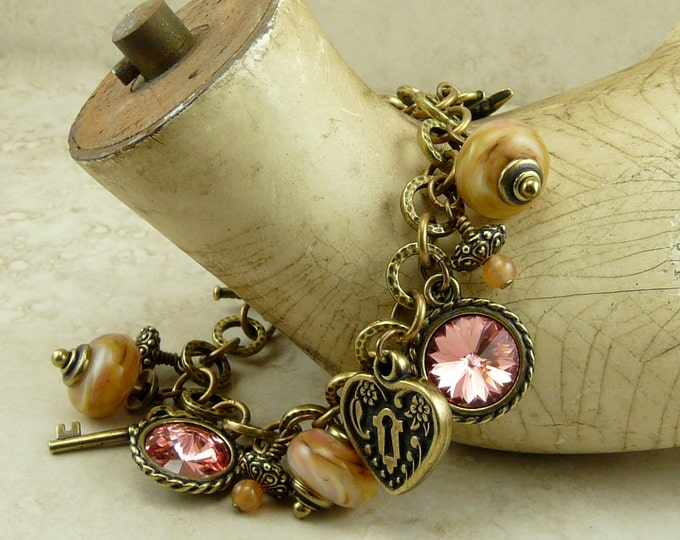 Featured listing image: Mothers Day Victorian Inspired Charm Bracelet - Valentines Day Lampwork Bead and Vintage Brass Ox Charms - I ship Internationally