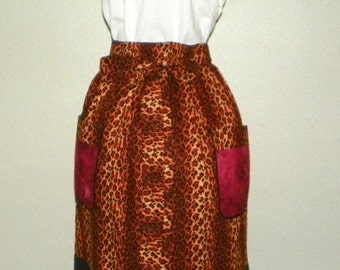 Extra Long Waist Apron Leopard Ombre For Kitchen Cooking Craft Gift Giving