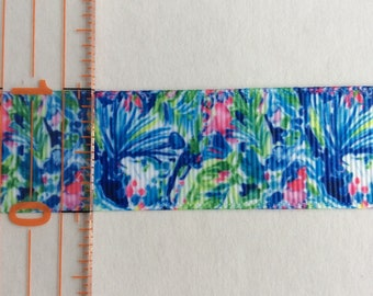 "Lilly Pulitzer inspired Fishtail grosgrain ribbon 1"" Bright Blue Pink"