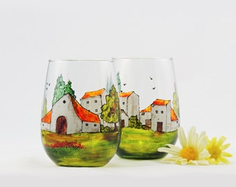 Tuscany wine glasses, Tuscan, Provence, French, France, Italian, Hand painted stemless wine glasses, Set of 2