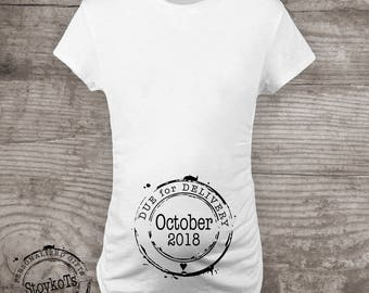 Maternity shirt, pregnancy announcement tshirt womens personalized due for delivery due date stamp clothing baby shower gift ideas