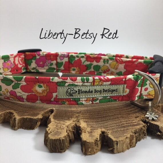 Liberty Dog Collar, Liberty Collar, Floral Dog Collar, Betsy Red, Pretty Dog Collar, Liberty Print Collar