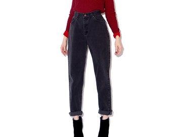 vintage LEE JEANS high waisted jeans mom jeans faded black jeans boyfriend jeans full hips skinny tapered jeans 90s grunge 90s clothing