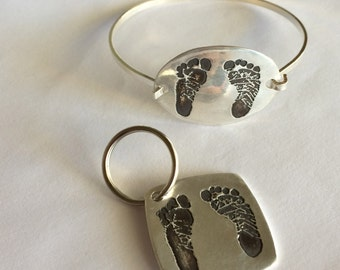Your Child's Actual Footprints Silver Bracelet  for Mom With Matching Keychain for Dad -Buy both at once to save - Made to order
