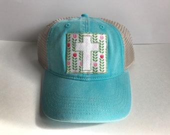 Floral Cross Comfort Colors Hat
