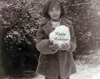 vintage photo Rose Holds snowball Happy Holidays Greeting CArd
