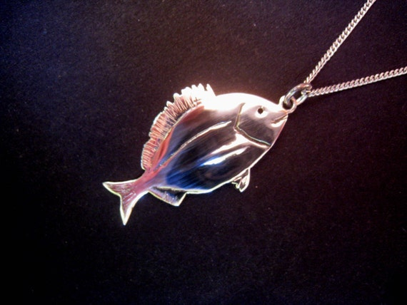 pisces jewelry necklace fish diplodus sargus duble side charm pisces gift sterling silver kids unisex cute charm best gift