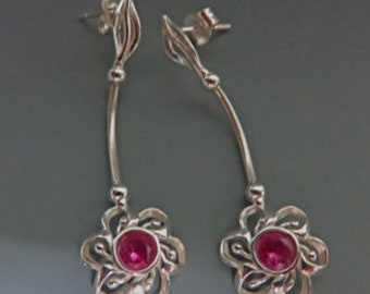 Sapphire Earrings - Pink Sapphire and Sterling Silver Dangle Earrings - Beautiful Pink Sapphire Flower Drops