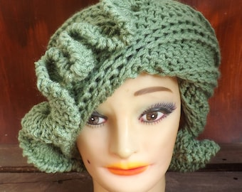 Sage Green Cloche Hat,  Womens Crochet Hat,  Green Womens Hat 1920s,  Sage Hat,  Green Hat,  Cynthia 1920s Cloche Hat with Ruffle