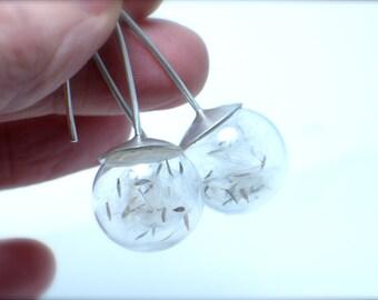 Dandelion dangle earrings, Glass and silver. Botanical. Modern Jewelry. Dandelion seeds. statement jewelry