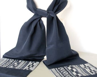 Luxury Silk Scarf in Blue Black with Geometric Detail panel made from Fine Vintage Japanese Kimono Silks - Perfect Gift in Presentation Box