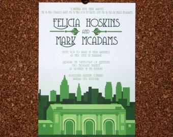 Digital File / Custom Kansas City Skyline Wedding / Green / Event Invitation / New York / Chicago