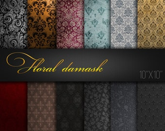 Damask Digital Paper / Damask Scrapbook Ornaments / Damask Patterns / Damask Textures / Pack of 12 JPG files / Printable Paper For Craft