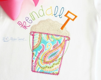Girl Summer Shirt - Sand Pail Applique - Personalized Shirt