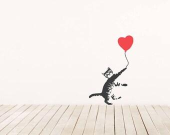 Cat Balloon die-cut vinyl decal Kitten Pop Art