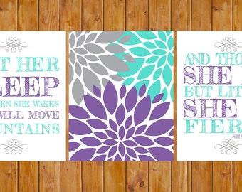Let Her Sleep Flower Burst She is Fierce Nursery Decor Art Grey Purple Blue Wall Art 3 - 8x10 Digital JPG Files  (190)