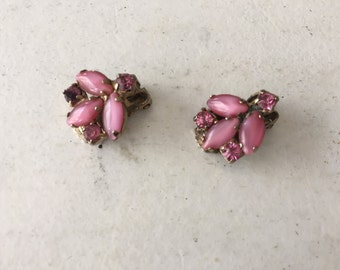 Vintage Pink and Moonglow Pink Rhinestone Earrings 0748