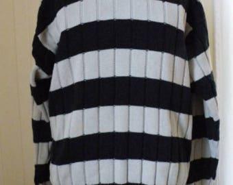 Black and Tan Striped Vintage Cotton Crew Neck Sweater Men Sz  Large